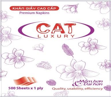 Khăn ăn Napkin CAT Luxury 500 tờ phôi xương giang đuôi mã vạch 0104  làm >= 1kg/ túi ĐL: 18±2g/m2,  KTtờ: 330x330mm