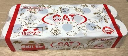 Giấy vệ sinh CAT Luxury xốp 2 lớp, 10cuộn/túi ~1400g ĐL: 18±2g/m2,  380m.